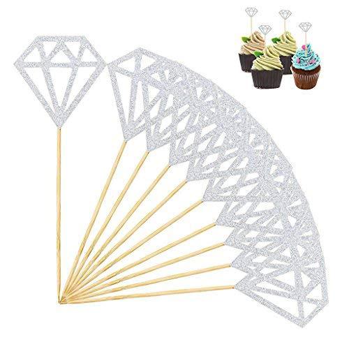 SUMAJU Diamond Cakes Toppers, 24Pcs Silver Glitter Cupcake Topper Decor Bridal Cupcake Picks for Party Wedding Decoration