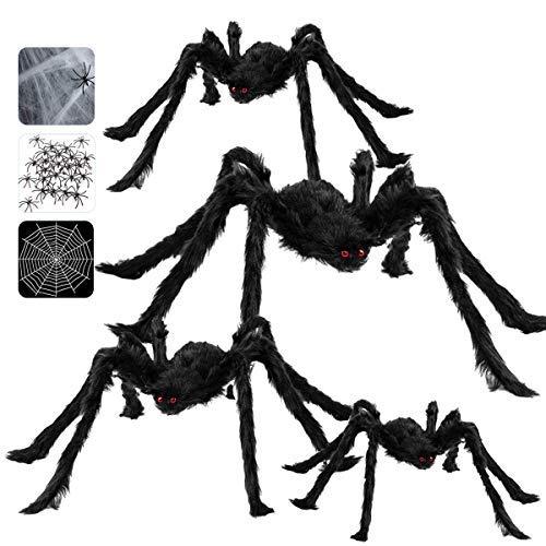 Arañas Halloween, Decoraciones de Halloween Casa con 4 Piezas Arañas gigante (90 /75 /60 /50cm ) + 10 ㎡ Telaraña + Telarañas estirables + 20 mini Arañas, Halloween Terror Decor de Fiesta Exteriores