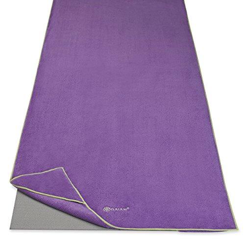 Gaiam Stay Put Yoga Towel Mat Size Yoga Mat Towel (Fits Over Standard Size Yoga Mat - 68'L x 24'W), Purple