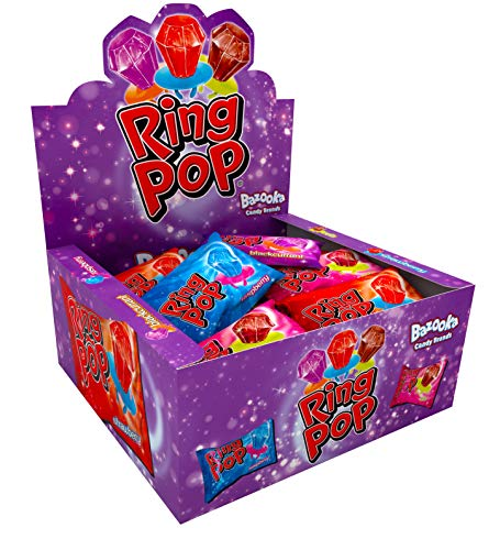 Ring Pop, Individually Wrapped Variety Party Pack, 24 Lollipops of Assorted Flavours -Blue Raspberry, Strawberry, Cola and Blackcurrant