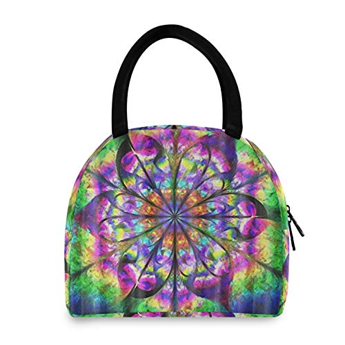 FELIZM Bolsas de almuerzo coloridas geométricas mandala aisladas reutilizable lonchera portátil bolsa de almuerzo bolsa para oficina, escuela, picnic, viajes al aire libre