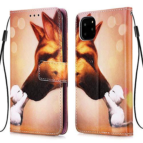 """Nadoli Leder Hülle für iPhone 12 Pro 6.1"""",Bunt Hund Malerei Ultra Dünne Magnetverschluss Standfunktion Handyhülle Tasche Brieftasche Etui Schutzhülle"""