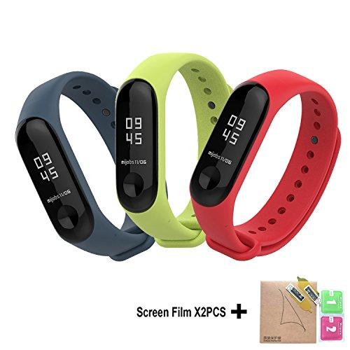 BDIG - Correas de Repuesto para Reloj, Colorido suave silicona pulsera impermeable, Diseño de la Mejor para Pulsera Xiaomi Mi Band 3, Marrón, Large Strap Length (3PCS)