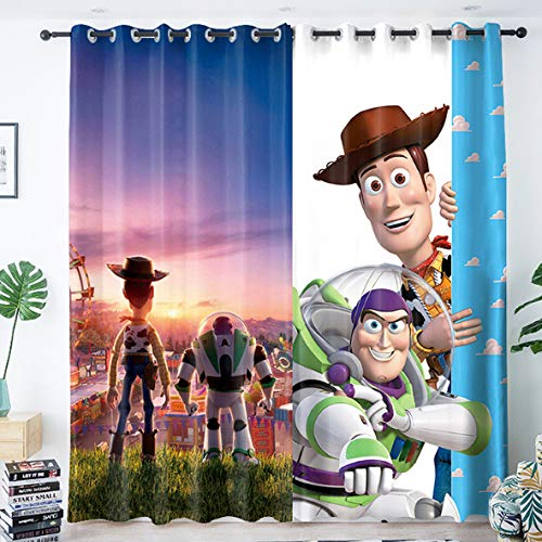yug Curtain Children'S Room Bedroom Bay Window Shading And Noise-Proof French Windows Nordic Modern Minimalist Decoration Cartoon Toy Story