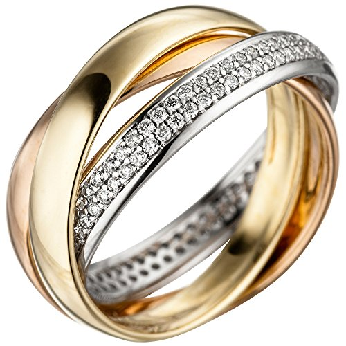 JOBO Damen Ring 585 Gold tricolor dreifarbig 122 Diamanten Brillanten Diamantring Größe 58