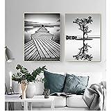 WAFENGNGAI Lienzo de pintura Cuadros de paisajes modulares Decoración para el hogar Impresiones de estilo nórdico Arte de la pared Cartel de árbol en blanco y negro Puente-50X70Cmx2 Sin marco