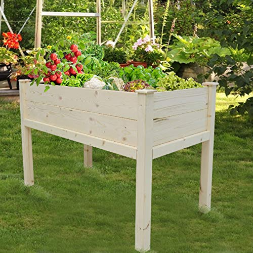 Hand-Mart 4x2x2.7 Ft Cedar Raised Garden Bed Including 20 Wooden Plant Labels Elevated Planter Stand Grow Box with Legs Counter Height Garden Box for Backyard, Patio, Outdoor/Indoor, Natural