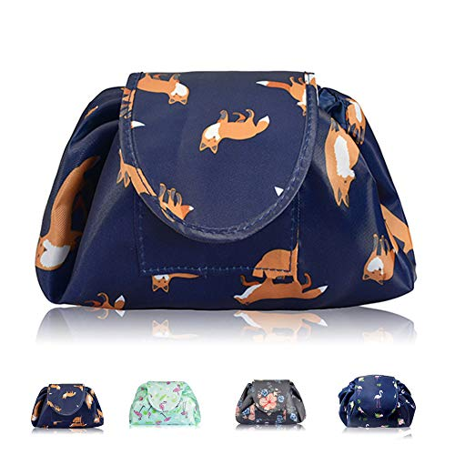 Lazy Drawstring Makeup Bags, Large Capacity Waterproof Travel Portable Cosmetic Bag Pouch Makeup Pouch Storage Organiser for Women Girl (Gold Fox)
