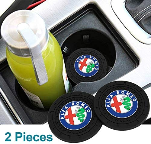 Auto Sport 2.75 Inch Diameter Oval Tough Car Logo Vehicle Travel Auto Cup Holder Insert Coaster Can 2 Pcs Pack Fit Genesis Accessories