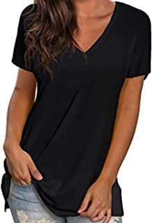 Women's Summer Shirts and Blouses Short Sleeve V Neck T...