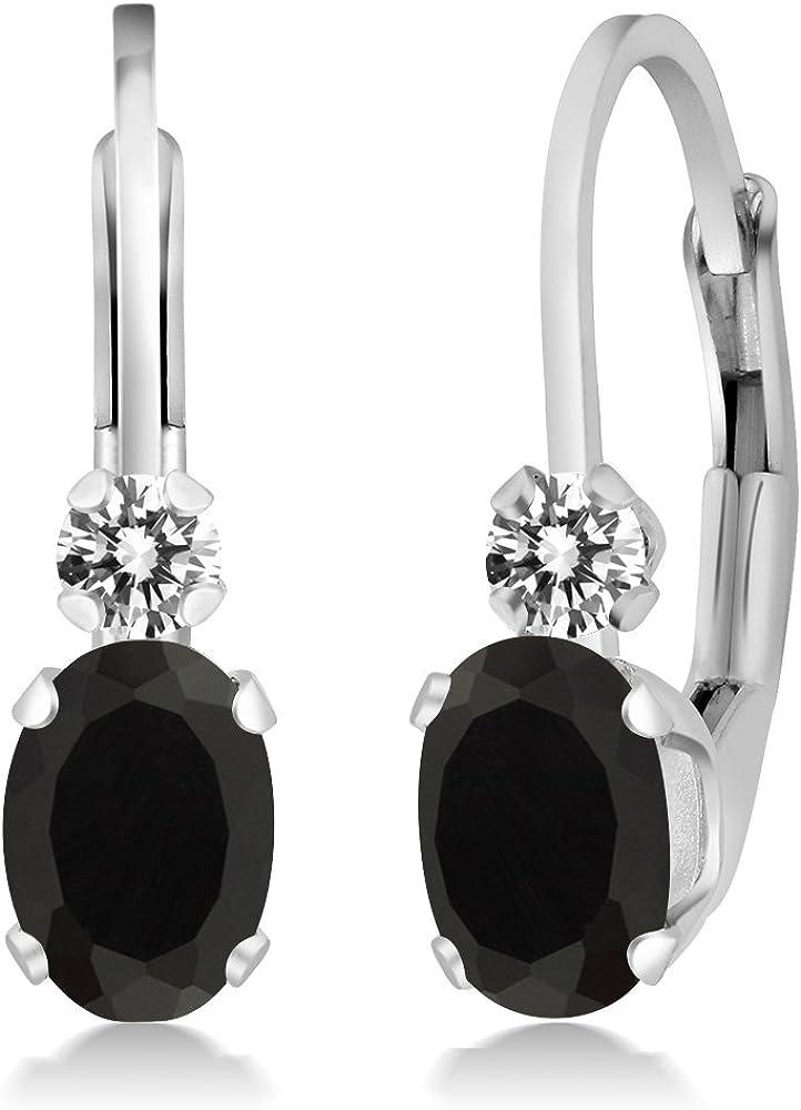 Gem Stone King 0.85 Ct Oval security Black Onyx Sterlin Diamond 925 Daily bargain sale White
