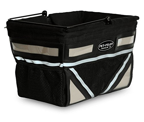 Travelin K9 Pet-Pilot Original Dog Bike Basket Carrier | 8 Color Options for Your Bicycle (Silver)