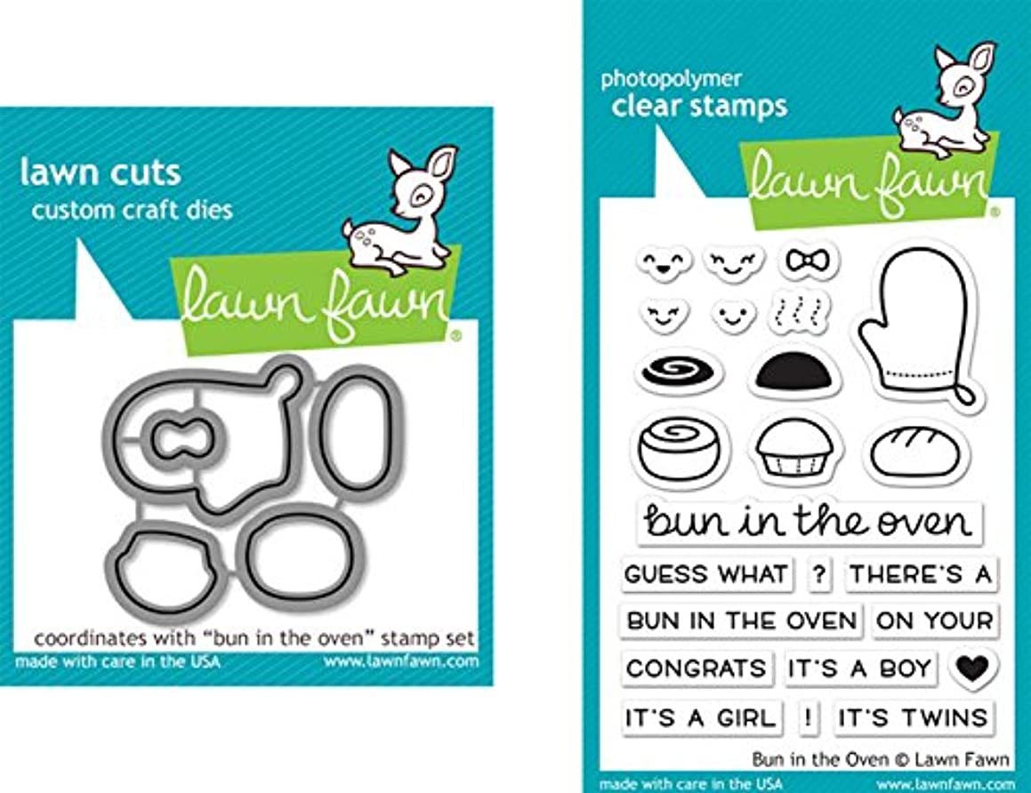 Lawn Fawn Bun In The Oven Clear Stamp and Die Bundle LF1317 LF1318 (Set of 2 Items)