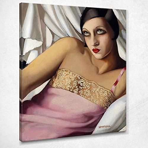La Camicia Rosa Tamara De Lempicka Quadro Stampa su Tela Lmt15 Alta qualità Certificata Fine Art Giclée, Fatto in Italia, 150x120 cm