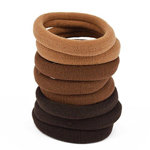 CRAZYCHIC - Lot Elastiques Mousse à Cheveux Couleurs Assorties Marron Brown - 8 pcs - Taille standard
