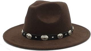 Men Women Winter Fedora Hat with Punk Belt Panama Hat Pop Wide Brim Church Fascinator Hat Wild Hat Size 56-58CM` TuanTuan (Color : Coffee, Size : 56-58)