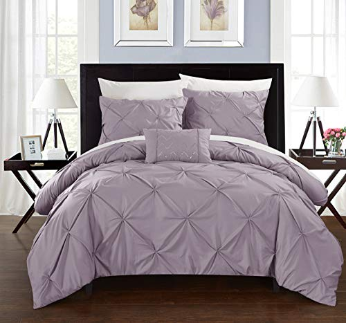 Chic Home 4 Pc Daya Pinch Pleated, Ruffled Duvet, Queen, Lavender