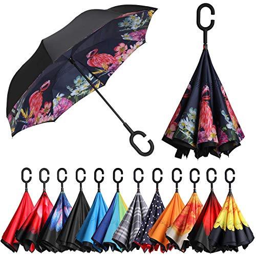 BAGAIL Double Layer Inverted Umbrella Reverse Folding Umbrellas Windproof UV Protection Big Straight Umbrella for Car Rain Outdoor with C-Shaped Handle (Flamingo)