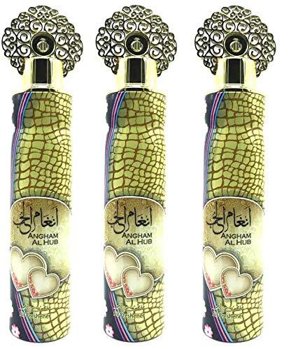 Lot de 3 Vaporisateurs Angham Al Hub 300ml Désodorisant Intérieur Maison Voiture Spray Textile Élimine Les Odeurs Emprisonnées Dans Les Tissus Parfum Frais Notes: Floral, Fruité, Musc, Oud