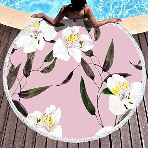 Rund Strandtuch Badetuch Weiße Blumen Betriebsblatt Rosa Picknickdecken Strandmatte Mikrofaser Handtücher Extra Groß Saunatücher mit Quasten für Damen Kinder Camping Reise White 150cm