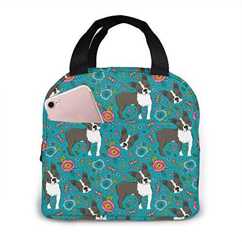 French Bulldog And Floral Lunch Bag Insulated Lunch Box Leakproof Cooler Cooling Tote With Front Pocket For Men Women