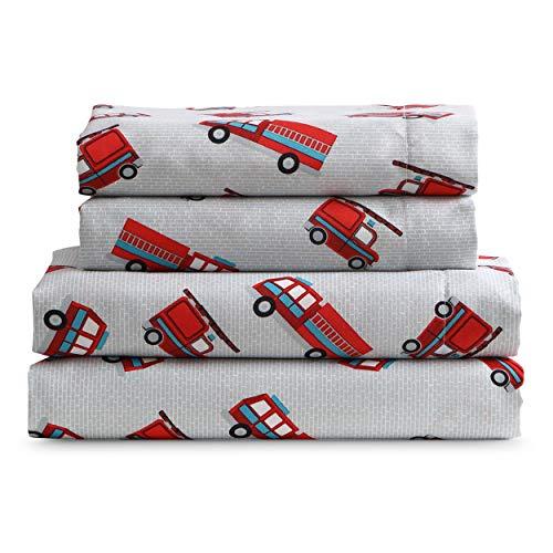 Kute Kids Super Suave Juego de sábanas–Camiones de Bomberos–para Mayor Comodidad de Microfibra cepillada