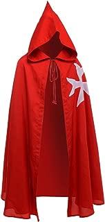 Medieval Templar Knight Cloak Hospitaller Hooded Robe Halloween Costume Cape