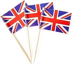Mflagperft UK Flag United Kingdom Small Toothpick Mini Stick Flags Decorations (100 Pack)