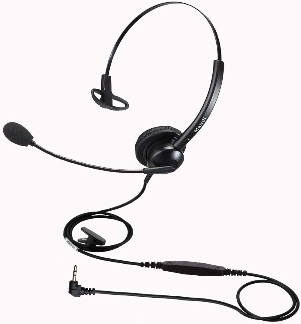 Telephone Headset with 2.5mm Jack, Office Phone Headset Noise Cancelling Mic for Panasonic Cisco Polycom