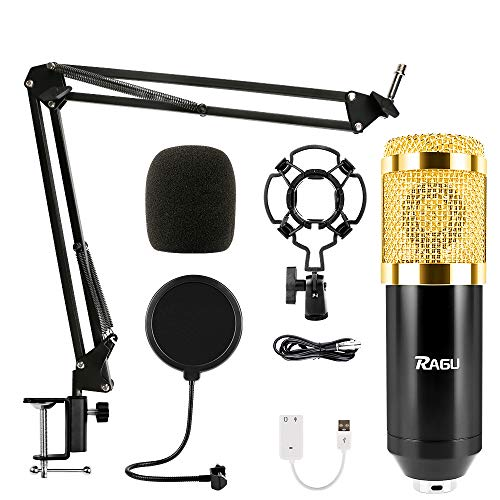 RAGU Condenser Microphone Bundle, 8-in-1 Cardioid Condenser Microphone Kit for Studio Recording and Brocasting