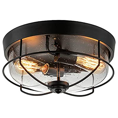 COTULIN 13 Inch Farmhouse Black Flush Mount Ceiling Light,Industrial Ceiling Light Fixture with Seeded Glass Shade for Hallway Kitchen Dining Room Foyer,2-Light Vintage Rustic Metal Cage Light Fixture
