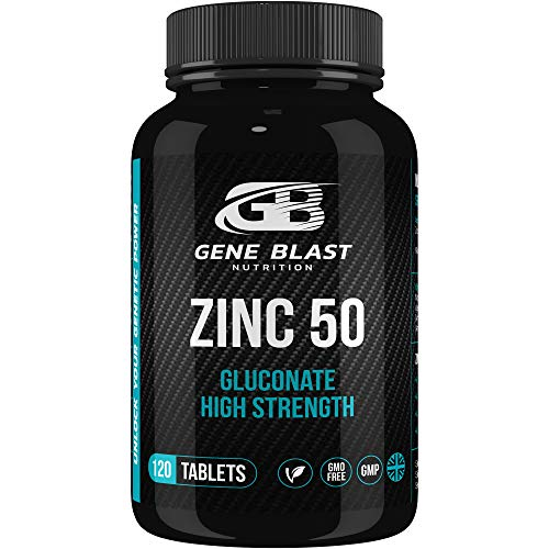 Gene Blast Zinc 50 Super Strength Zinc Gluconate 50mg Dietary Supplement, Supports The Immune System, Cognitive Function, Hair, Skin, Nails & Bone Health, 120 Vegan Tablets