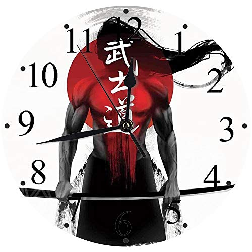 Yaoni Silencioso Wall Clock Decoración de hogar de Reloj de Redondo,Japonés, Samurai Warrior Figura Fondo de Rayos de Sol Ronin Japón Guerra indígena Tema, Roj,para Hogar, Sala de Estar, el Aula