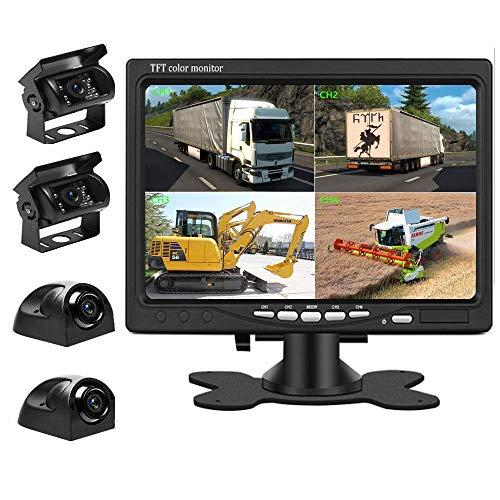 Liehuzhekeji Auto Backup Kamera und Monitor Kit, 7 Zoll HD Quad Split Monitor 4 Stück wasserdichte IR Nachtsicht Front&Rear&Side View Kameras für Auto RV LKW Pickup Van Camper Rückwärtseinsatz