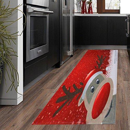 Christmas Santa Snowmen Reindeer Floor Runner Area Rug (W:24inch-L:71inch, #4)
