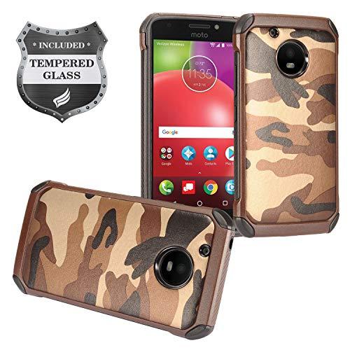 Eaglecell - for Motorola Moto E4 XT1767 (Moto E 4th Gen. 2017) - Hybrid TPU Protective Case + Tempered Glass Screen Protector - EC4 Brown Camo
