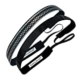 Sweaty Bands Womens Girls Headband - Non-Slip Velvet-Lined Fitness Hairband - 2-Pack Paparazzi Black and Rock Solid Black 5/8-Inch