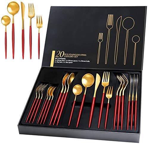 HOBO 20 Teilige Besteckset mit Geschenkbox, Hohe Qualität Rot Golden Besteckset aus Edelstahl Service für 4 Personen, Einschließlich Messer/Gabel/Löffel/Teelöffel/Teegabel