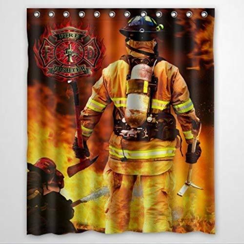 BYRON HOYLE Personalisierter Duschvorhang mit Feuerwehr- & Feuerwehr-Design, mit Ringen, Polyestergewebe, Duschvorhänge mit Haken, Badezimmer-Dekoration, 152,4 x 182,9 cm