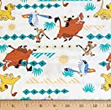 1/2 Yard - The Lion King Characters Striped on White Cotton Fabric - Officially Licensed (Great for Quilting, Sewing, Craft Projects, Throw Blankets & More) 1/2 Yard X 44'