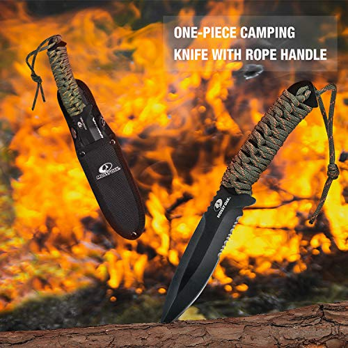 Mossy Oak Axe and Fixed Blade Knife with Sheath, One-Piece Camping Hatchet and Hunting Knife with Rope Handle, Includes Zoomable Flashlight and Many Other Tools, 12 Pieces Camping Tool Set