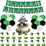 Decoraciones para fiestas de fútbol, globos colgantes de remolino para decoración de torta de la Copa del Mundo, decoraciones de fútbol de 52 piezas (HP-JY-379, juego de 46 unidades)