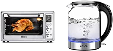 COSORI 12-in-1 Air Fryer Toaster Oven Convection Roaster with Rotisserie & Dehydrator, 30L, Silver & Electric Kettle Glass Bo