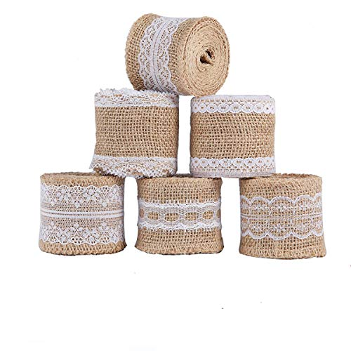 6 Pieces Burlap Ribbon, Natural Jute Fabric Ribbons Rolls...