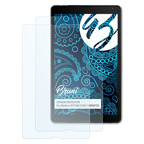 Bruni Schutzfolie kompatibel mit Medion LIFETAB E10411 MD60720 Folie, glasklare Bildschirmschutzfolie (2X)