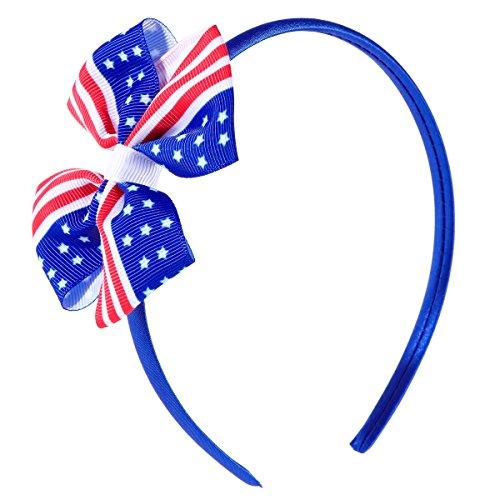 BESTOYARD Amerikanische Flagge Haarreif Patriotische Stirnband Bowknot Haarschmuck für Kinder Baby Mädchen (blau)