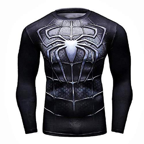 Maglia Spiderman Uomo t-Shirt Maniche Lunghe Uomo Ragno Girocollo Sportiva (Taglia XXXL) Cosplay per Ragazzo
