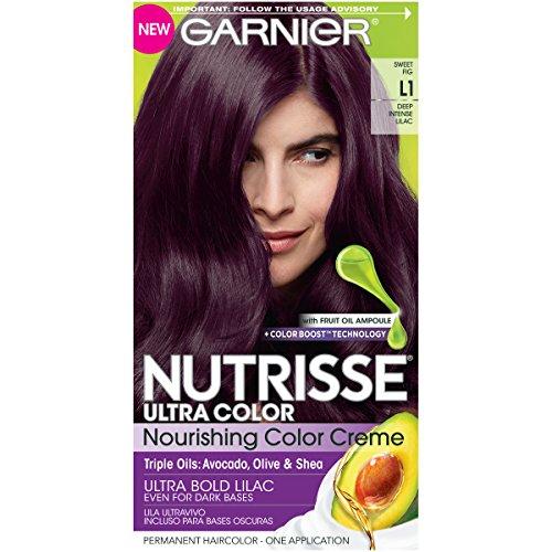 Garnier Nutrisse Ultra Color Nourishing Permanent Hair Color Cream, L1 Deep Intense Lilac Sweet Fig (1 Kit) Purple Hair Dye (Packaging May Vary),Pack of 1