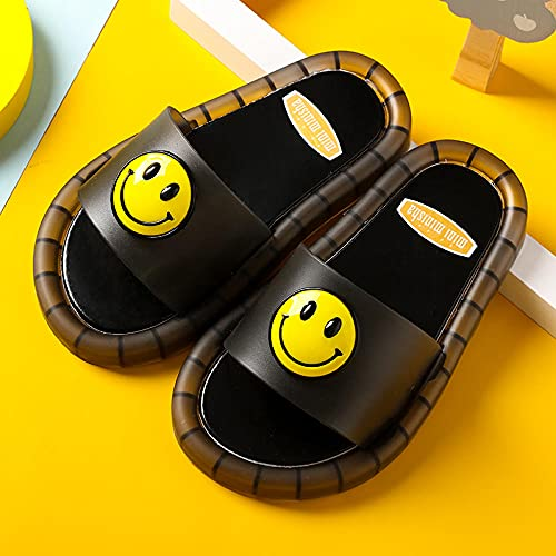 Perferct Mens Boot Slippers,Girls' Luminous Shoes, Summer New Children'S Daisy Flashing Sandals And Slippers, Children And Boys With Smiling Faces In Beach Bathroom Slippers-Long (19cm / 7.48')_black