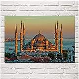 FUXUERUI Mezquita del Sultán Ahmed Turquía Estambul escénica mañana amanecer cuadro de arte de pared lienzo pintura cartel impreso para decoración del hogar,50x70cm sin marco